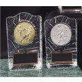 KV3428 レリーフ交換ガラス楯(金・銀・銅 樹脂メダル付) 大量購入や、大会の参加賞に使える楯