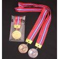 KMSメダル-Y型 φ50mm ビニールケース入り V形リボン付き:大会の記念に1個から販売、金メダル・銀メダル・銅メダル、優勝メダル