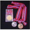 KMメダル-B型 φ60mmメダル プラケース入り 蝶リボン付き:大会の記念に1個から販売、金メダル・銀メダル・銅メダル、優勝メダル