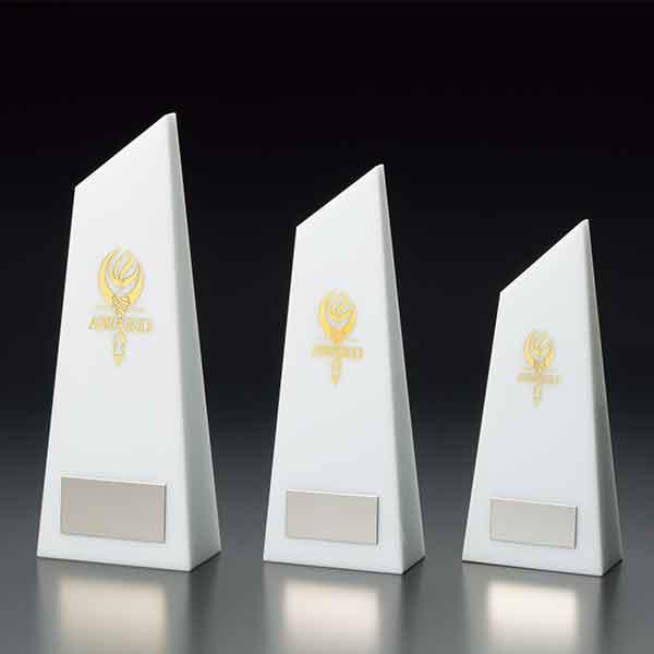 画像1: VT3130白 クリスタルブロンズ 社内表彰・企業表彰・周年記念・コンテスト用に高級感あるガラス製トロフィー・クリスタルトロフィー