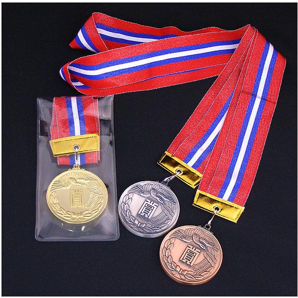画像1: KMメダル-Y型 φ60mmメダル ビニールケース入り V形リボン付き:大会の記念に1個から販売、金メダル・銀メダル・銅メダル、優勝メダル