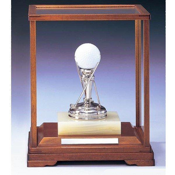 画像2: ホールインワン用ブロンズ G2:ホールインワンの記念ボールを飾れる記念品 記念クリスタルブロンズトロフィー