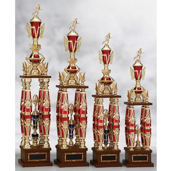 画像1: T8805文字彫刻無料、野球、空手、サッカー、ゴルフなどの全ジャンルの大会を盛り上げる豪華な四本柱トロフィー