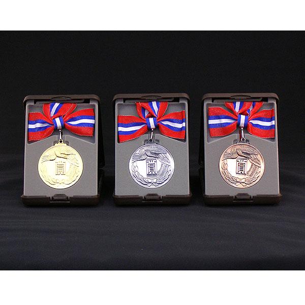 画像1: KMメダル-A型 φ60mmメダル A型ケース入り 蝶リボン付き :大会の記念に1個から販売、金メダル・銀メダル・銅メダル優勝メダル